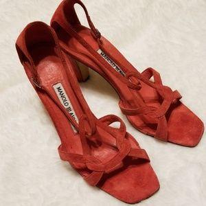 {Manolo Blahnik} Coral Suede Heels